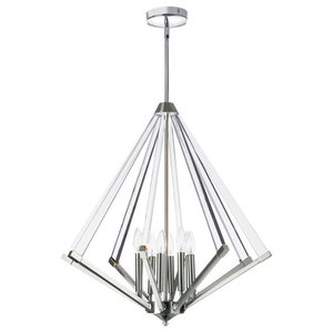 Altera 8-Light Chandelier With Acrylic Arms, Polished Chrome