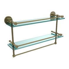 "22"" Gallery Double Glass Shelf With Towel Bar, Antique Brass"