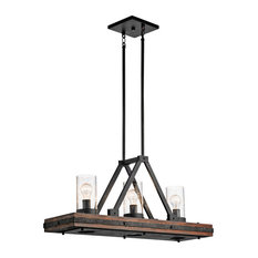 Lodge/Country/Rustic Colerne Chandelier Linear, Single, Auburn Stained Finish