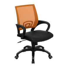 Flash Furniture   Williams Mid Back Computer Chair With Leather Seat,  Black, Orange