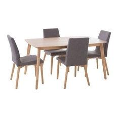 GDF Studio 5-Piece Katherine Fabric And Wood Finish Dining Set Oak/Dark Gray