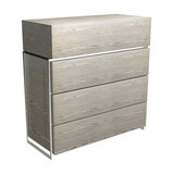 Federico 4-Drawer Chest, Weathered Oak, Chrome Accent