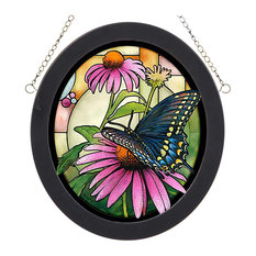 Swallowtail Butterfly on Flower Stained Glass Oval Art Hanging Panel