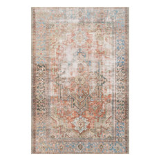 """Terracotta, Blue Printed Polyester Loren Area Rug by Loloi, 5'0""""x7'6"""""""