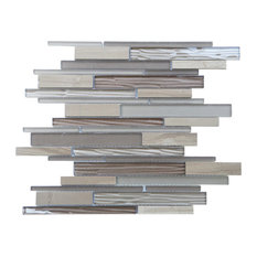"12""x12.25"" Loft Mix Mosaic Tiles, Set of 11, Driftwood"