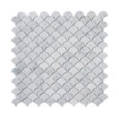 "12""x12"" Carrara White Medium Fish Scale Fan Shaped Mosaic Tile Honed"