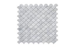 "12""x12"" Carrara White Medium Fish Scale Fan Shaped Mosaic Tile Honed"
