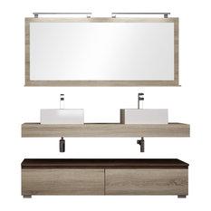 Slim Double Sink Bathroom Vanity Unit, 160 cm