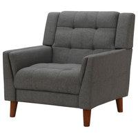 GDF Studio Evelyn Mid Century Modern Fabric Arm Chair, Dark Gray/Walnut