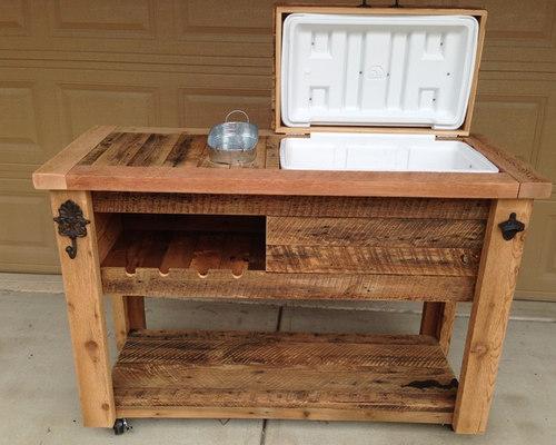 Barn Wood Cooler Bar Console Outdoor Furniture