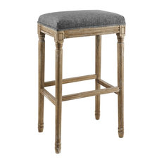 Linon Arden Backless Wood Barstool In Gray
