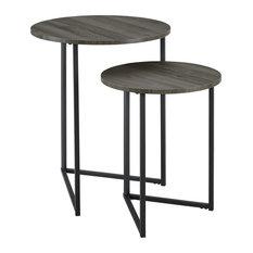 2-Piece V-Leg Nesting Side Tables, Slate Gray/Black