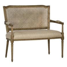 Bench Dovetail Avignon French Oak Frame Linen Upholstery Cane Back