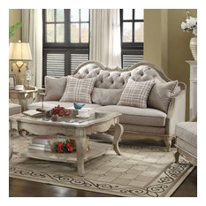 ACME Chelmsford Sofa In Beige Fabric And Antique Taupe