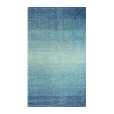 Sari Stripe Wool + Recycled Sari Stripe Silk Hand Loomed 5'x8' Rug, Blue