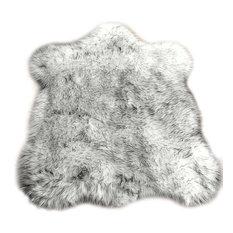 Black Tip Russian Wolf Faux Fur Shag Throw Area Rug, 2'x3'