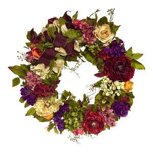 XL All Season Outdoor Tuscan Wreath, Peony, Hydrangea, Rose, and Zinnia