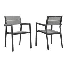 Modern Urban Contemporary Dining Armchair Outdoor Patio Set of 2, Brown Gray