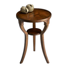 Butler Round Accent Table Olive Ash Burl