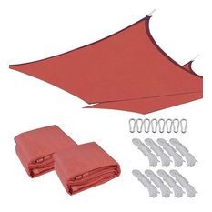 18'x18' Uv Proof Sun Shade Sail Cover, Set of 2, Red