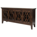 Four Hands Furniture - Saviano Azalea Sideboard 4-Door, Mango Wood - Intricately curved and crossed mullions dress the four glass doors of this traditional farmhouse sideboard made of solid wood. A rich, antique brown finish and slightly splayed leg complete the look.