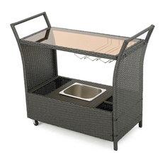 Wicker Bar Cart in Gray