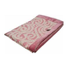 McAlister Textiles Little Leaf Floral Throw, Blush Pink, 180x254cm