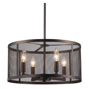 Aludra 4-Light Oil-Rubbed Bronze Industrial Round Metal Mesh Shade Chandelier