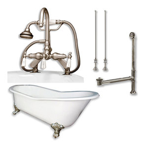 """Cast Iron Slipper Clawfoot Tub, English Style, Brushed Nickel Package, 67""""x30"""""""