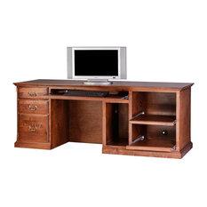 Traditional Alder Computer Desk, Merlot Oak