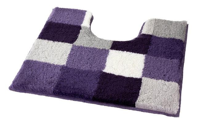 Purple Checker Pattern Rich Multi Color Plush Pedestal Bathroom Rug, Caro