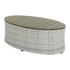 Brisbane Weather Resistant Resin Wicker Oval Patio Coffee Table