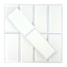 Frosted Elegance 3x6 Matte White Beveled Peel & Stick Glass Subway Tile, Box of