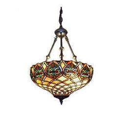 Serena d'italia Tiffany 2-Light Baroque Bronze Hanging Pendant Lamp