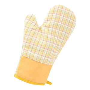 Yellow Oven Mitts Cotton Check Pattern Kitchen Cooking Gloves, 2-Piece Set