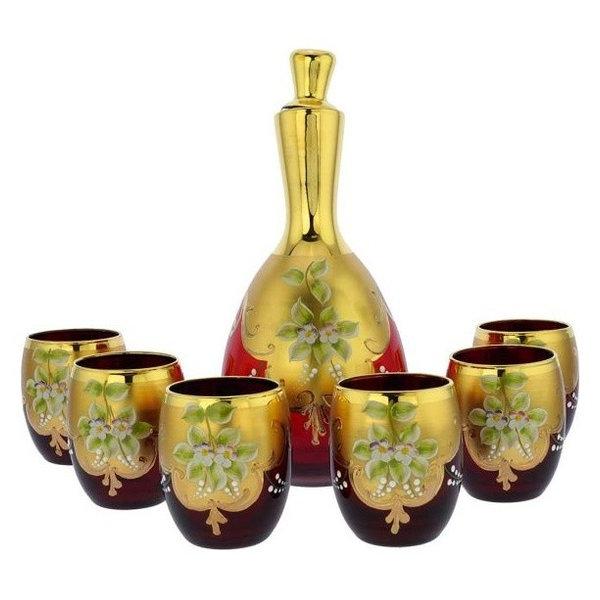 Murano Glass Decanter Set w/ Six Wine Glasses Tumblers 24K Gold Leaf -