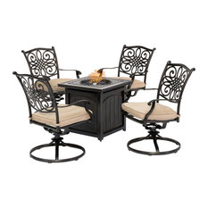 Traditions 5-Piece Fire Pit Chat Set, Natural Oat With 4 Swivel Rockers