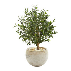 "Nearly Natural 31"" Olive Artificial Tree in Bowl Planter"