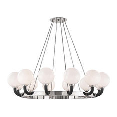 Werner 12-Light Pendant, Polished Nickel/Black