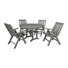 POLYWOOD Vineyard 5-Piece Nautical Trestle Folding Dining Set