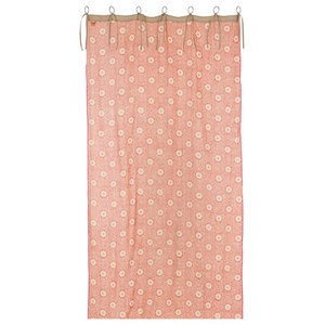 India Red Geometric Linen Curtain