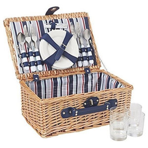 4-Person Red and Blue Strip Fitted Picnic Basket