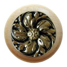 Notting Hill Chrysanthemum/Natural Wood Knob - Brite Brass