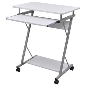 vidaXL Computer Desk Pull Out Tray Student Table, White