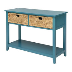 Console Table With Two Basketlike Front Drawers Teal