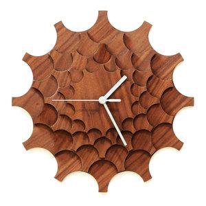 Cogwheel Wall Clock, Walnut