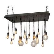 Rustic Industrial Dining Room Chandelier, Oil Rubbed Bronze Socket, Slate Base,