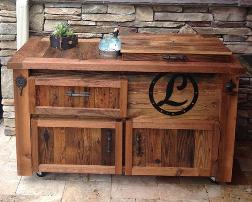 Barn Wood Coolers, Bar Carts, Cooler Cabinets