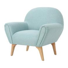 GDF Studio Valby Mid Century Modern Upholstered Armchair, Light Blue