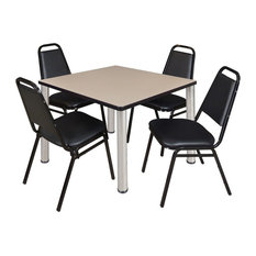 """Kee 42"""" Square Breakroom Table, Beige, Chrome, 4 Restaurant Stack Chairs, Black"""
